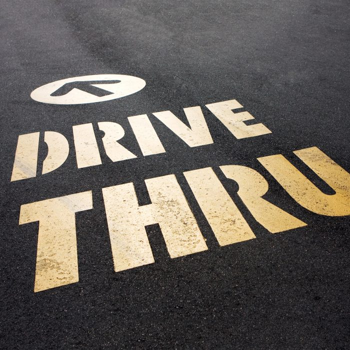 drive thru arrow indication on the road