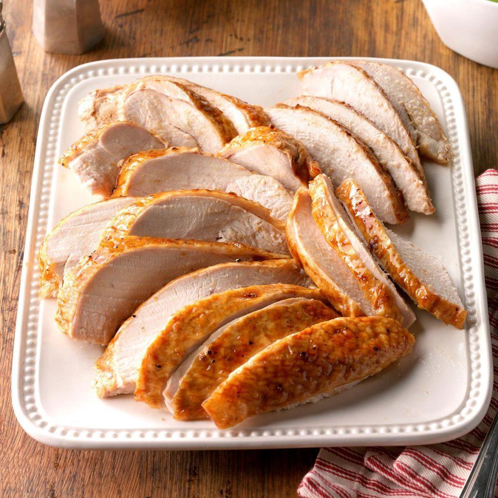 Golden apricot-glazed turkey