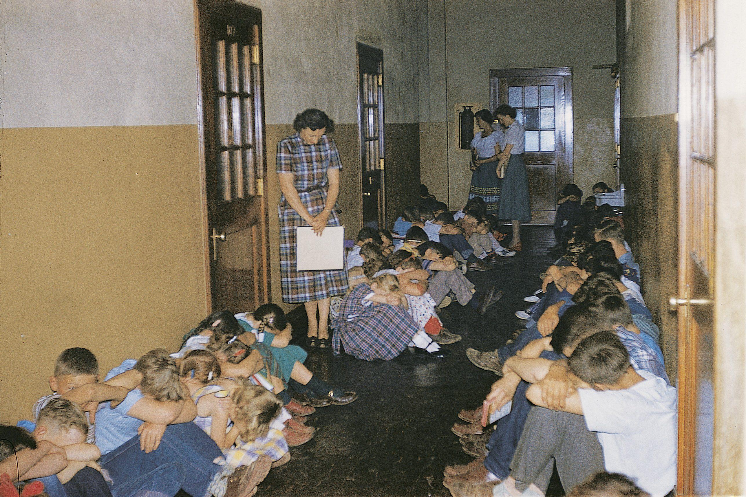 air raid drill vintage photo
