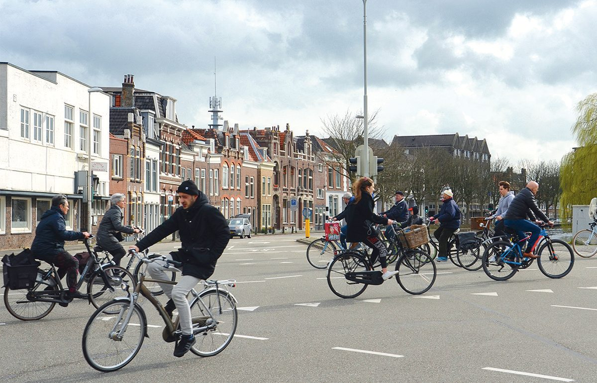 Cyclists in Gouda, Netherlands