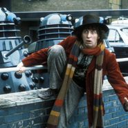 Classic Doctor Who on BritBox Canada - Tom Baker as The Doctor with Daleks