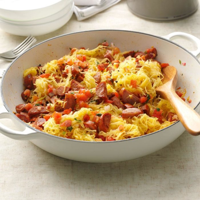 Spaghetti squash and sausage easy meal recipe