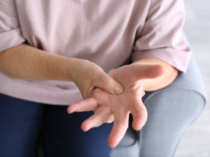 Person holding hands out