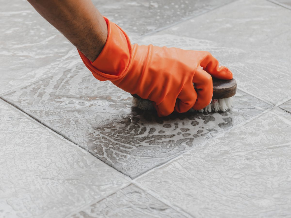 Scrubbing bathroom tiles