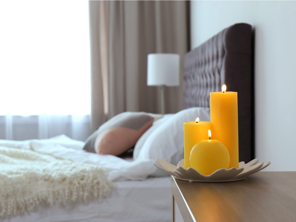 Candles in bedroom