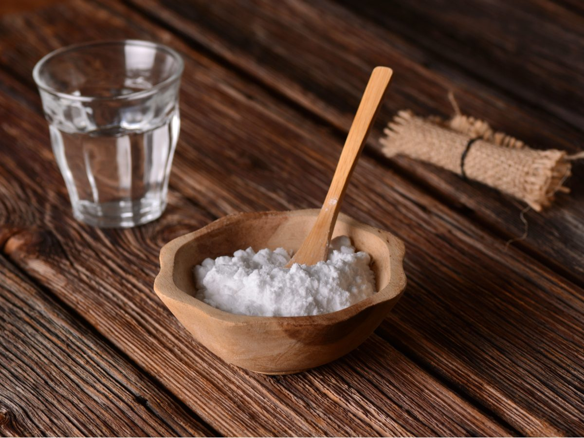 Baking soda on wooden table