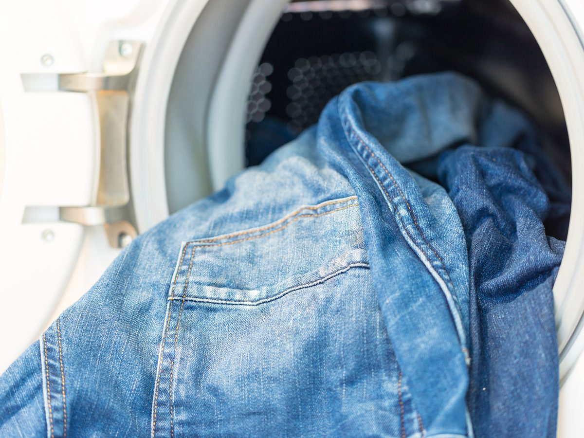 Blue jeans in washing machine
