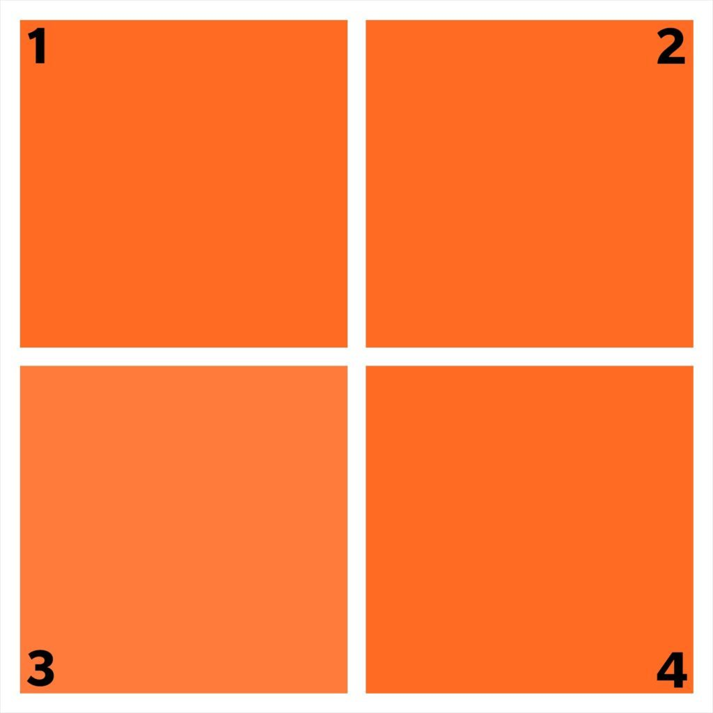 four orange squares. one is different.