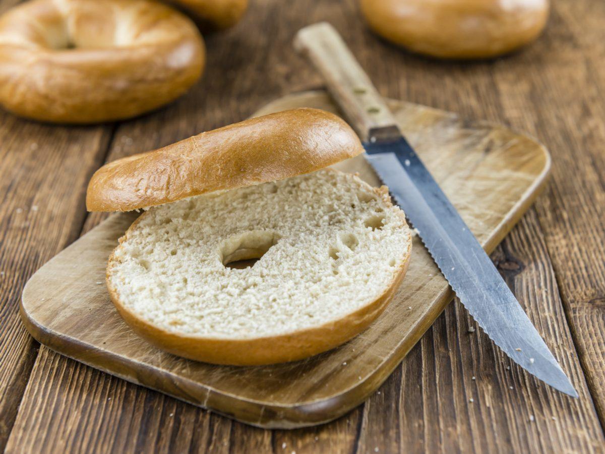 Plain white bagel cut in half