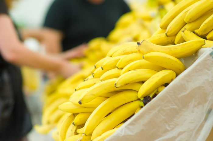 Produce section - Shelf of bananas