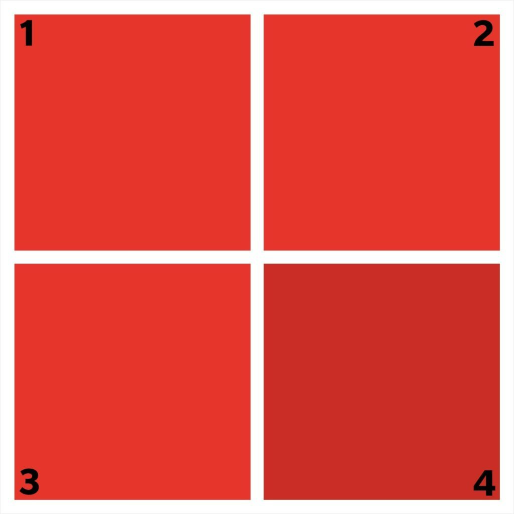 four red squares. one is different.