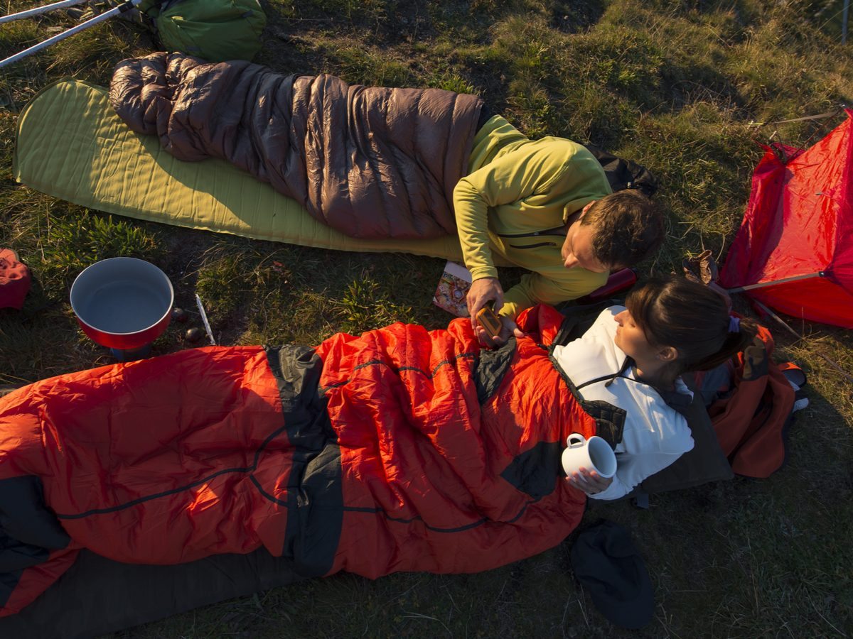 Trekking and overnight with sleeping bag
