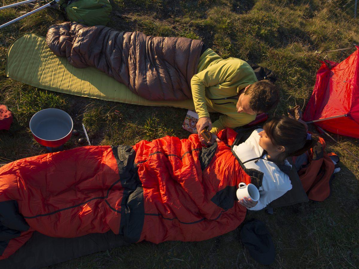 Trekking and overnight with sleeping bag
