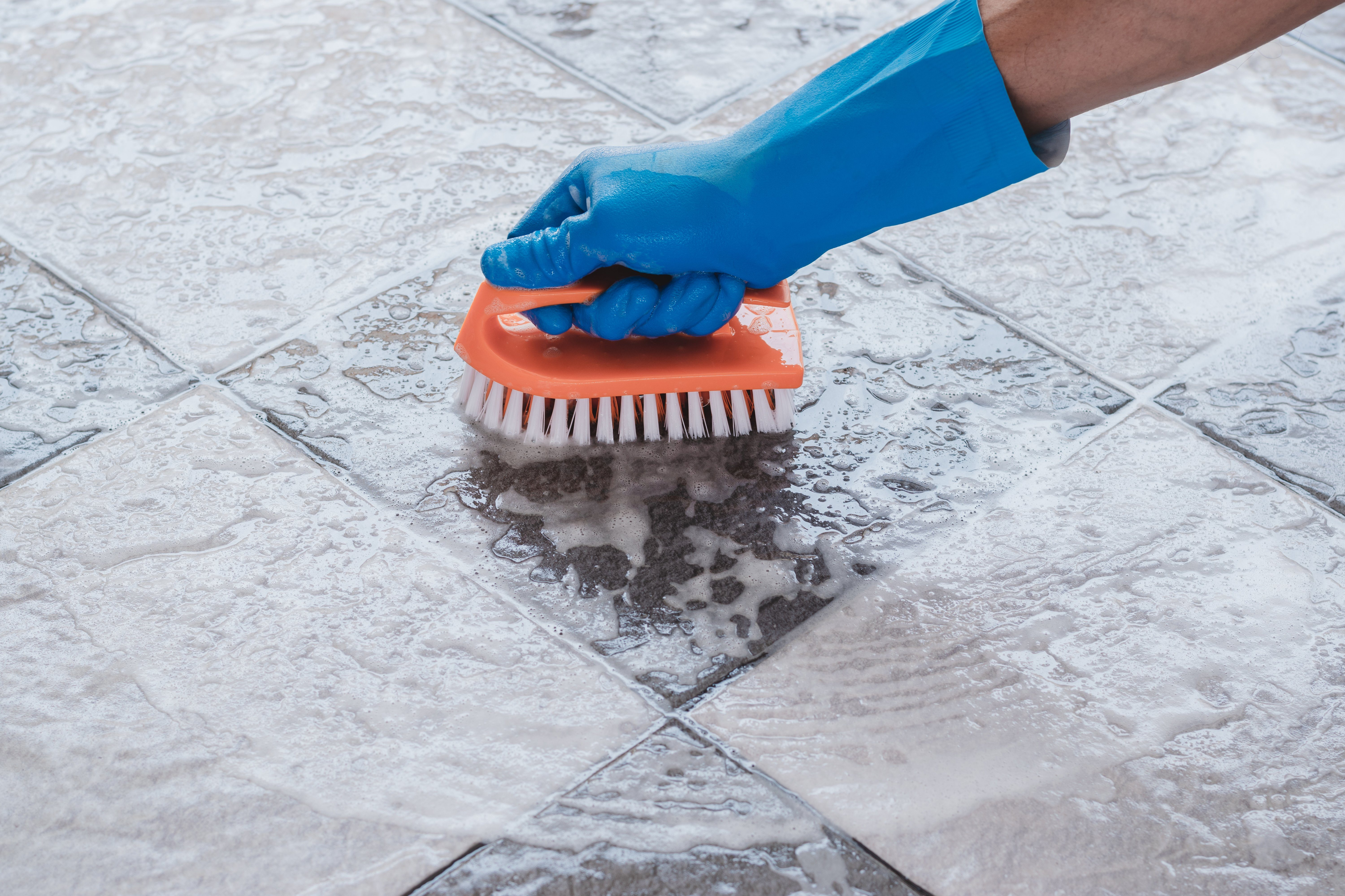 Cleaning on the tile floor