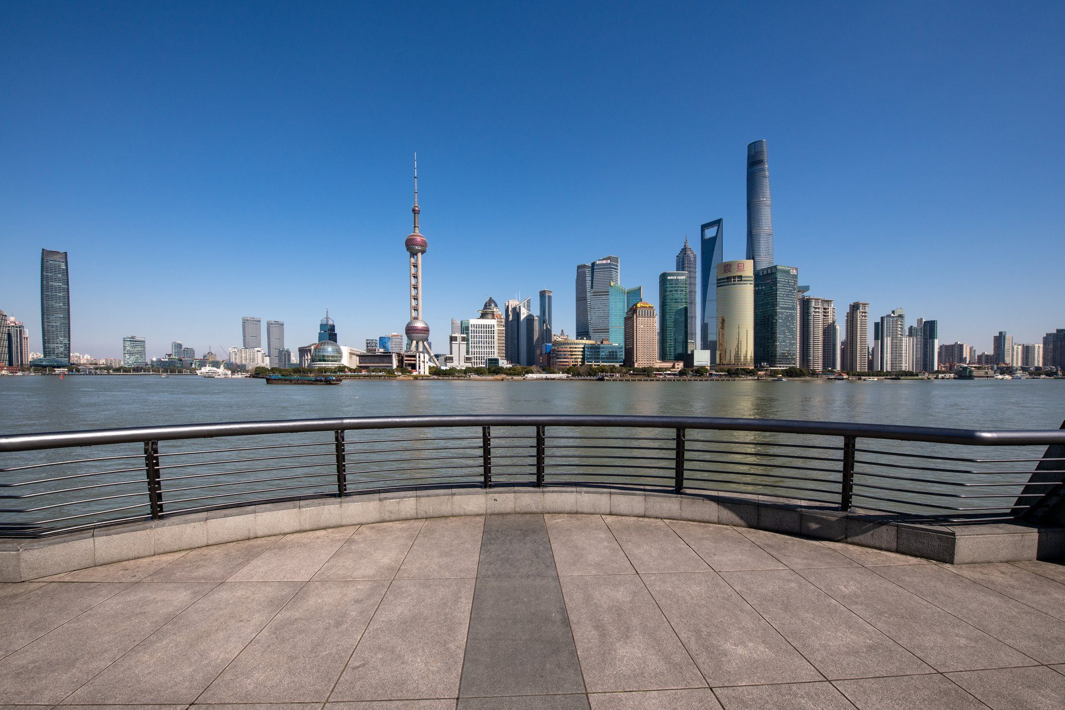 The Bund Shanghai During Lockdown in a Sunny Day Because of COVID-19