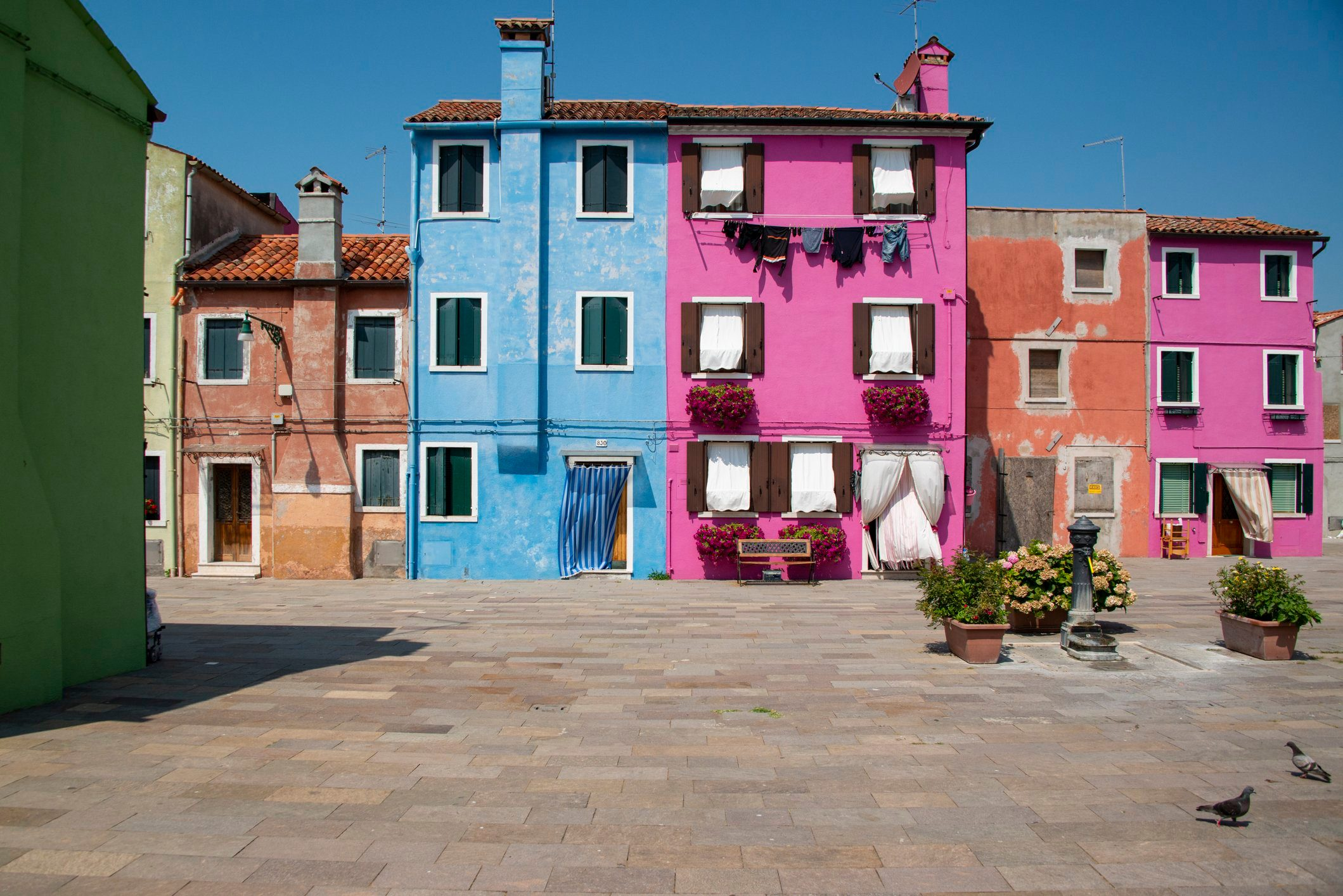 Colourful house walls in Burano, Venice, Italy