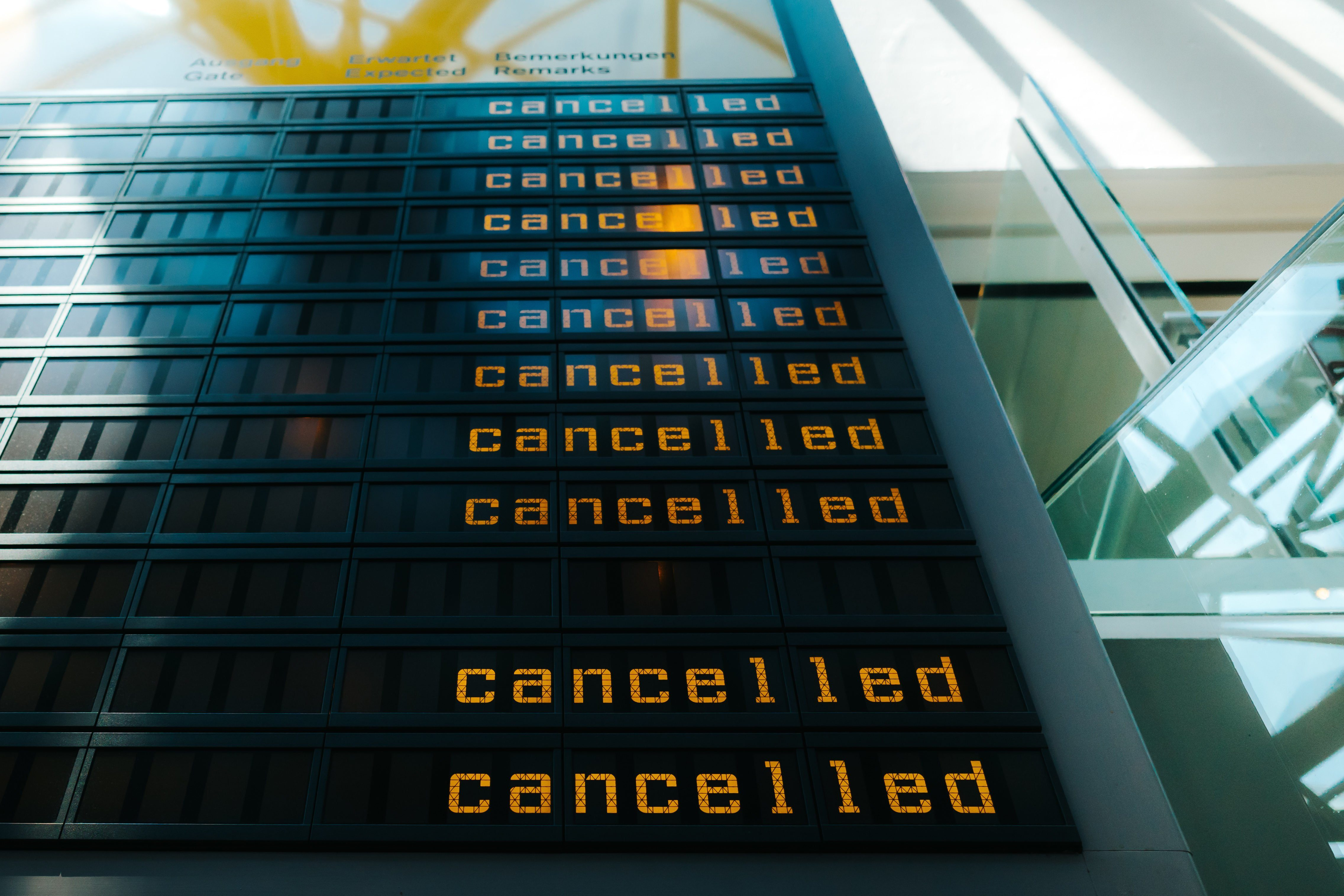 Cancelled Flights Are Shown On Display Panel At Berlin-Tegel Airport, Berlin, Germany