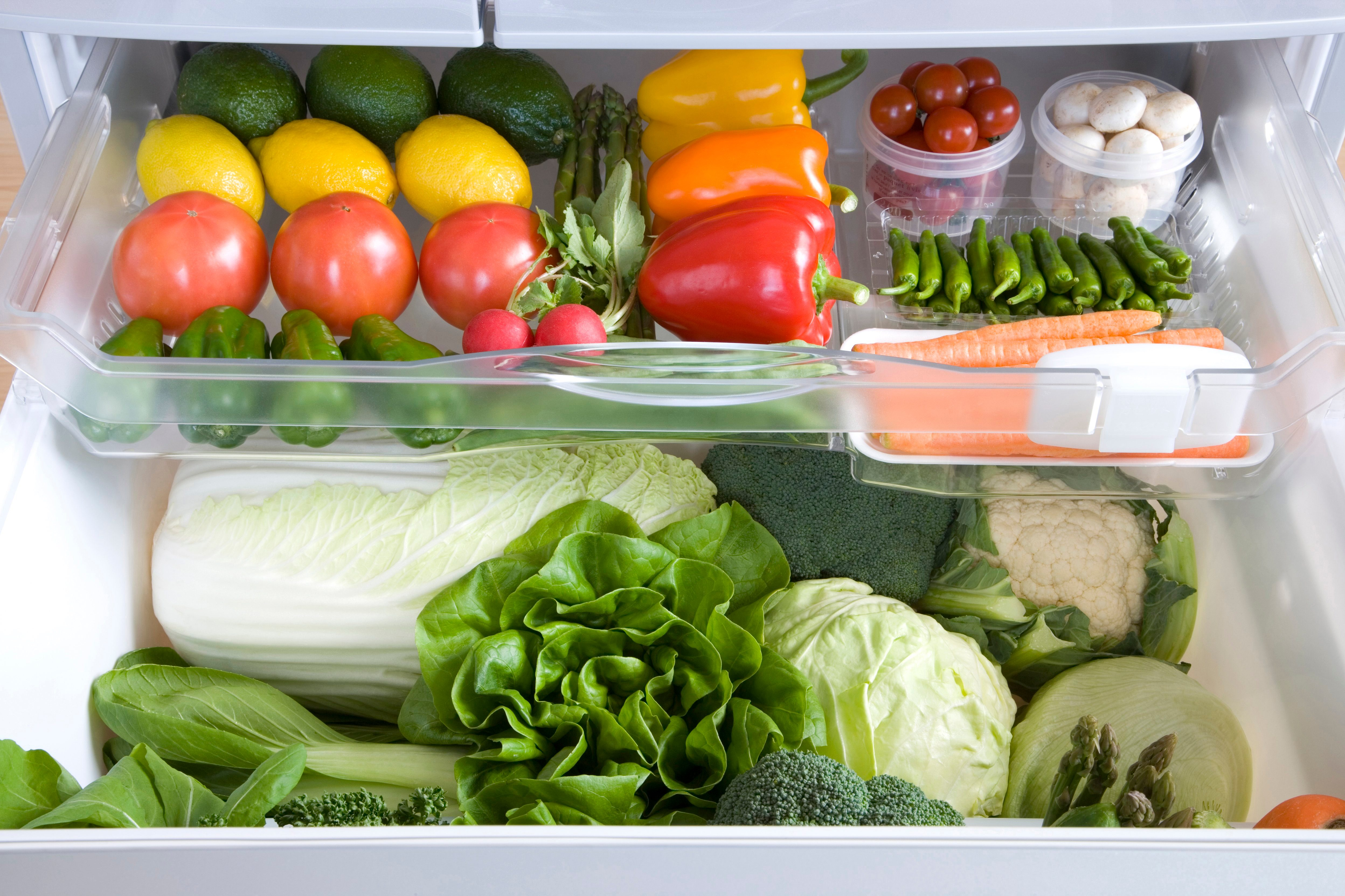 Veggie drawer in the fridge