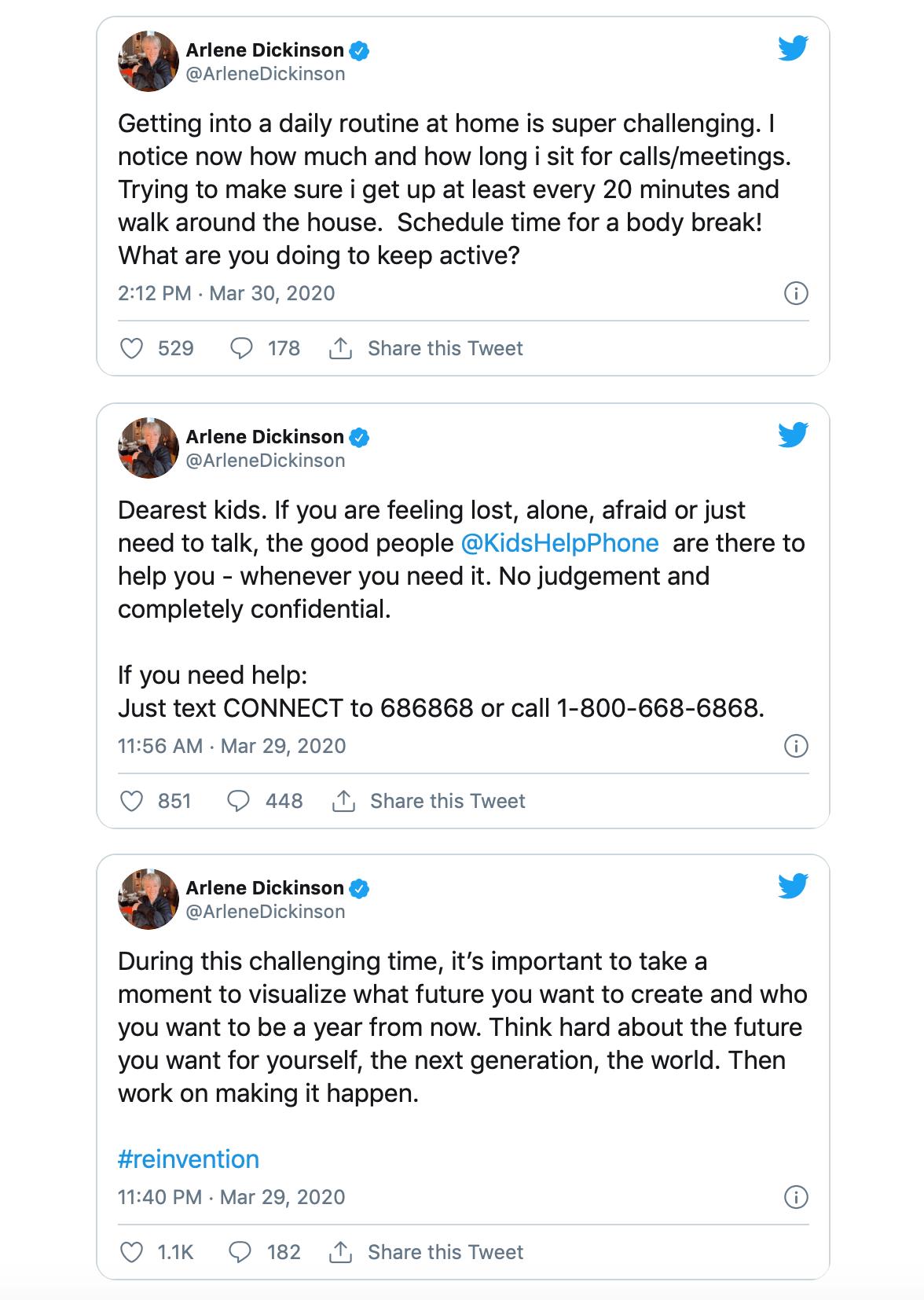 Arlene Dickinson Twitter account