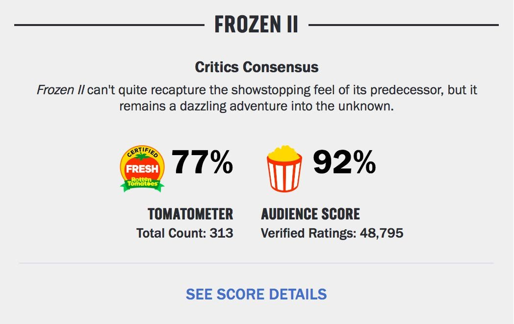 frozen ii certified fresh