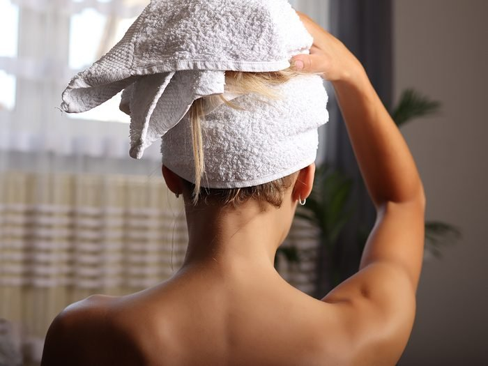 Home remedies for dry hair - hair wrapped in towel
