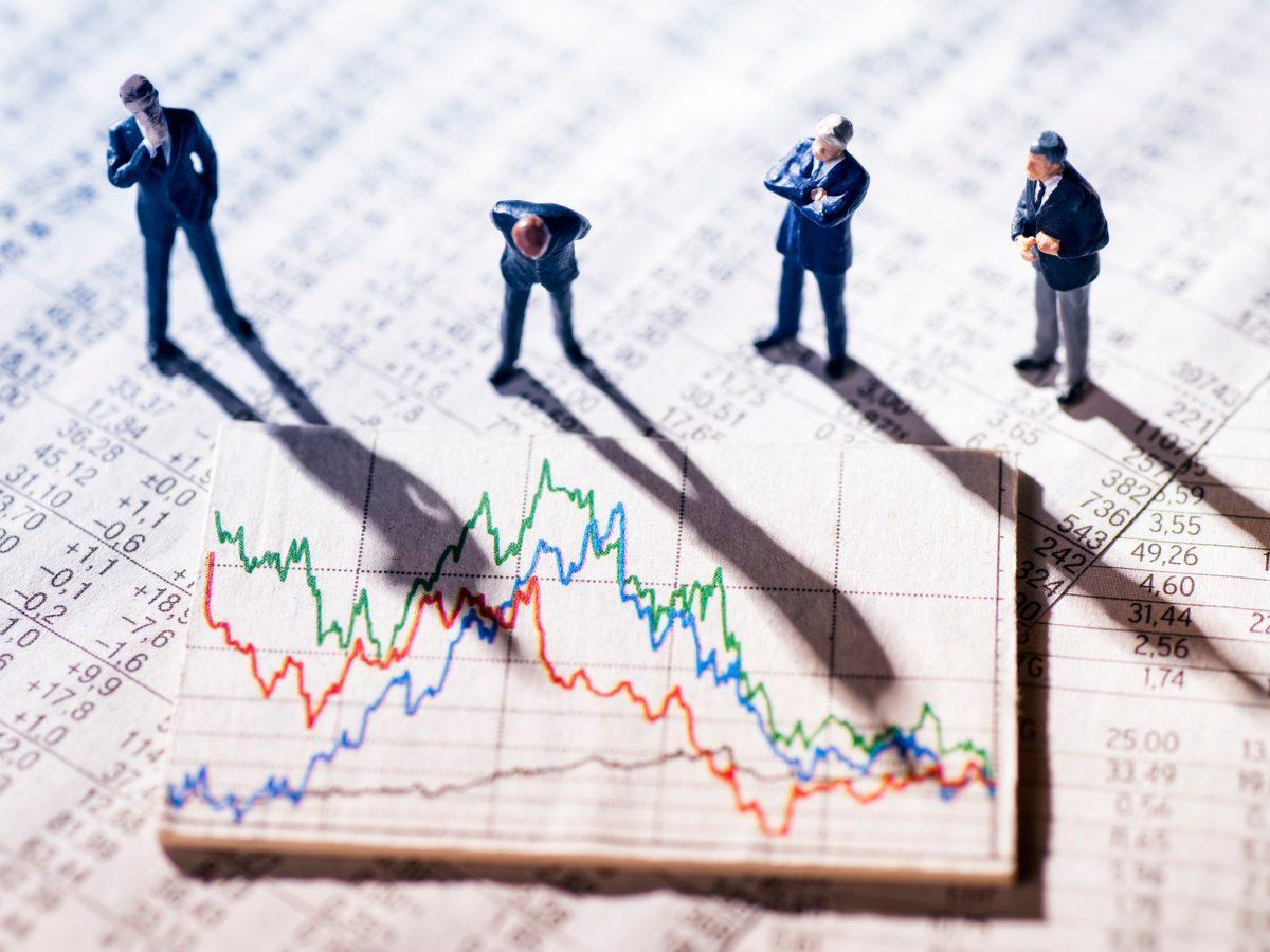 Stock market concept using miniature figures