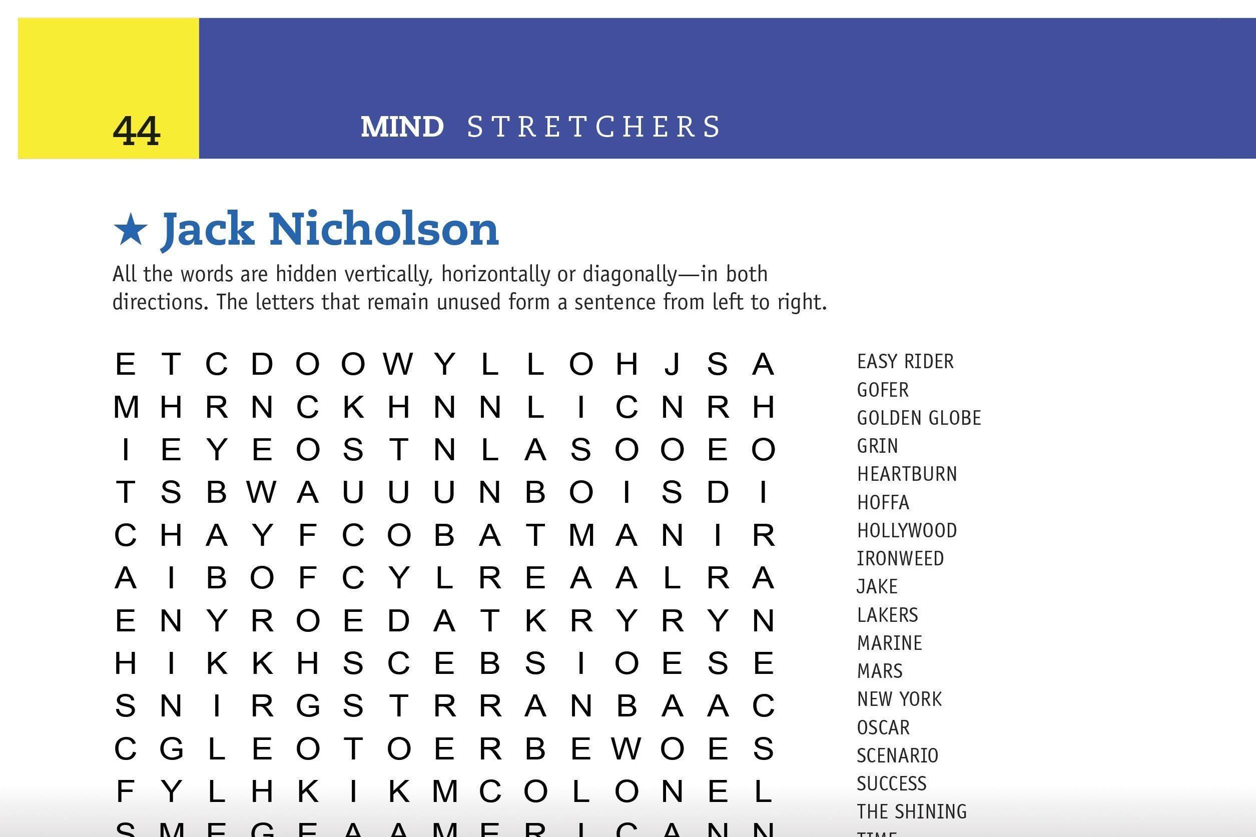 jack nicholson word search preview