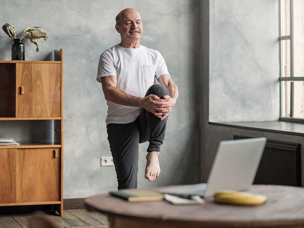old man stretching