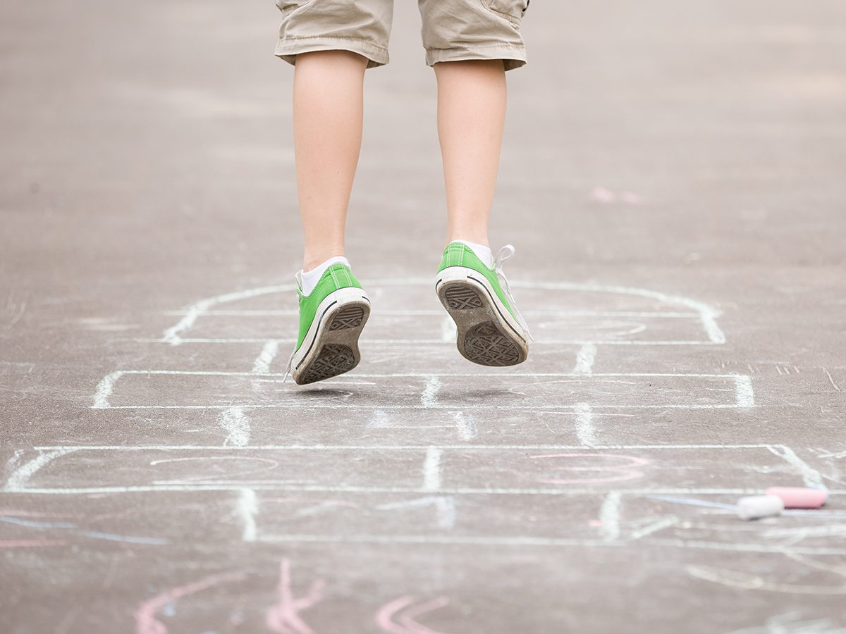 Quarantine activities for kids - sidewalk chalk hopscotch