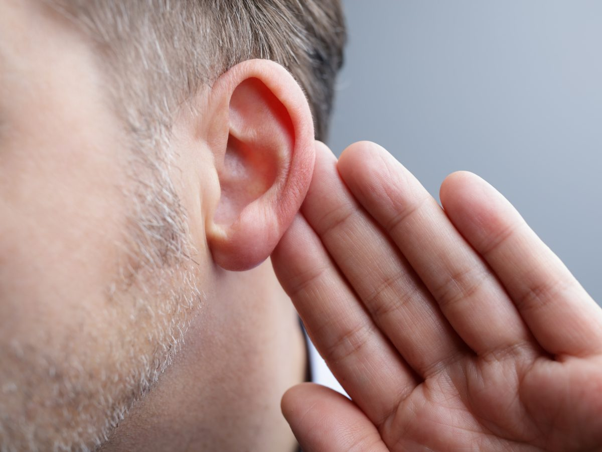 Close-up of man's left ear