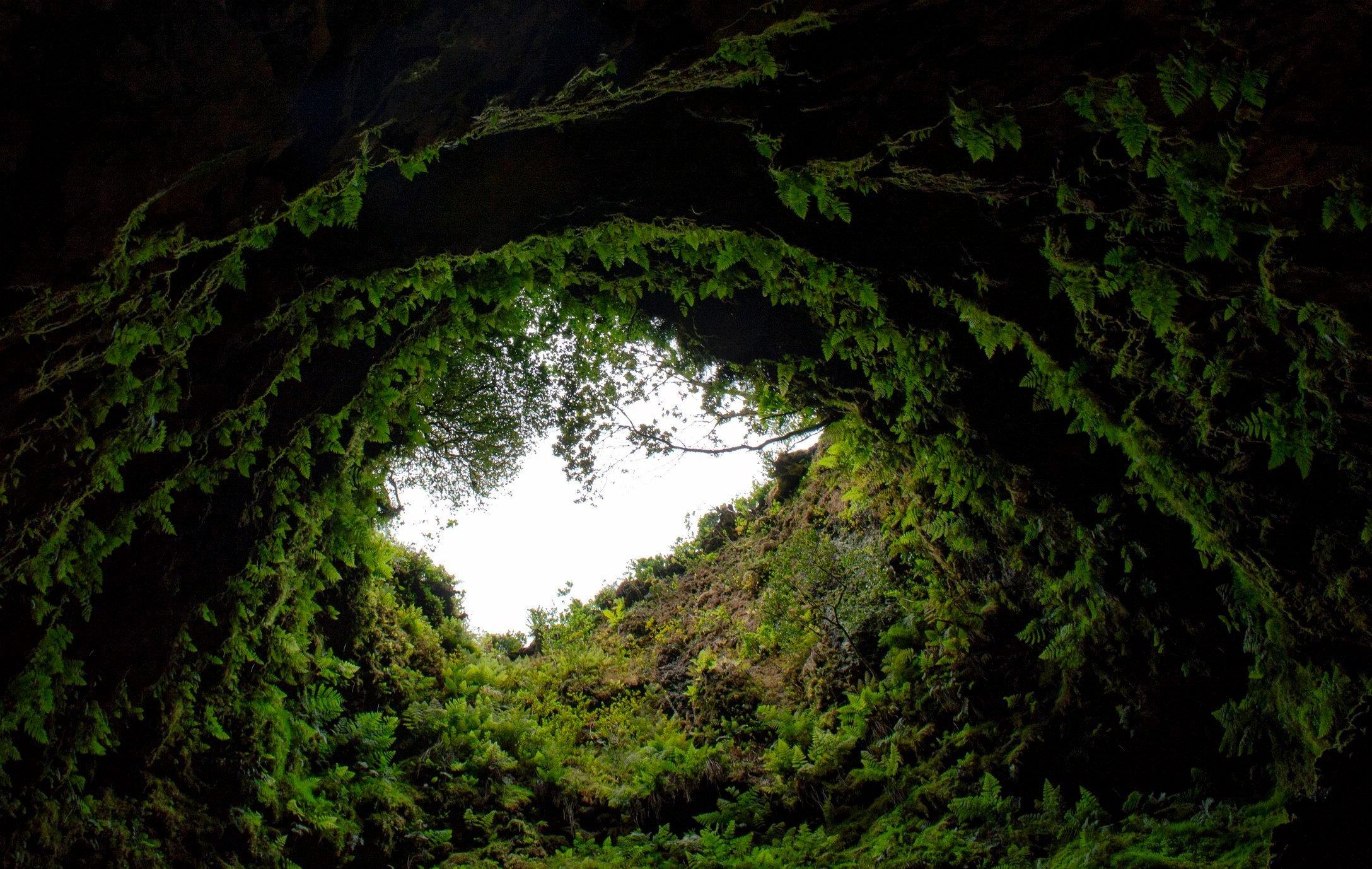 Entrance to the Algar do Carvão cave in Terceira, Azores islands, Portugal