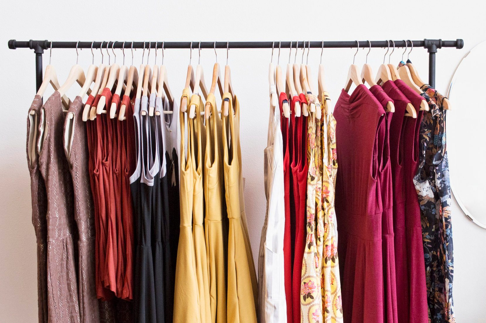Rack of dresses in boutique