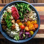 Garden Barley Bowl with Turkey Feta Bites & Creamy Avocado