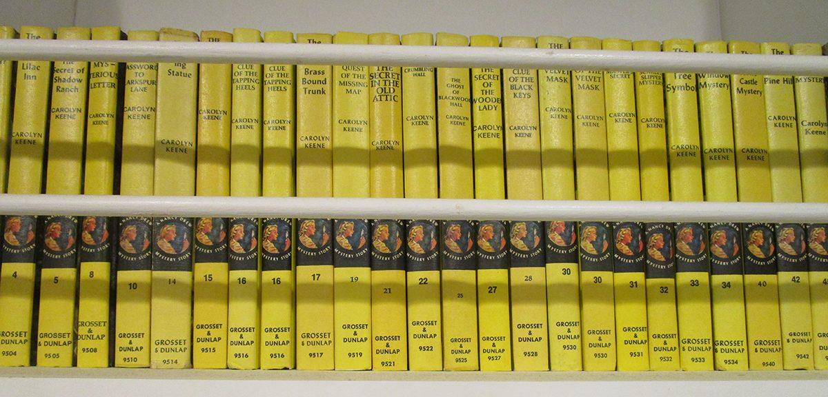 Nancy Drew books on a shelf
