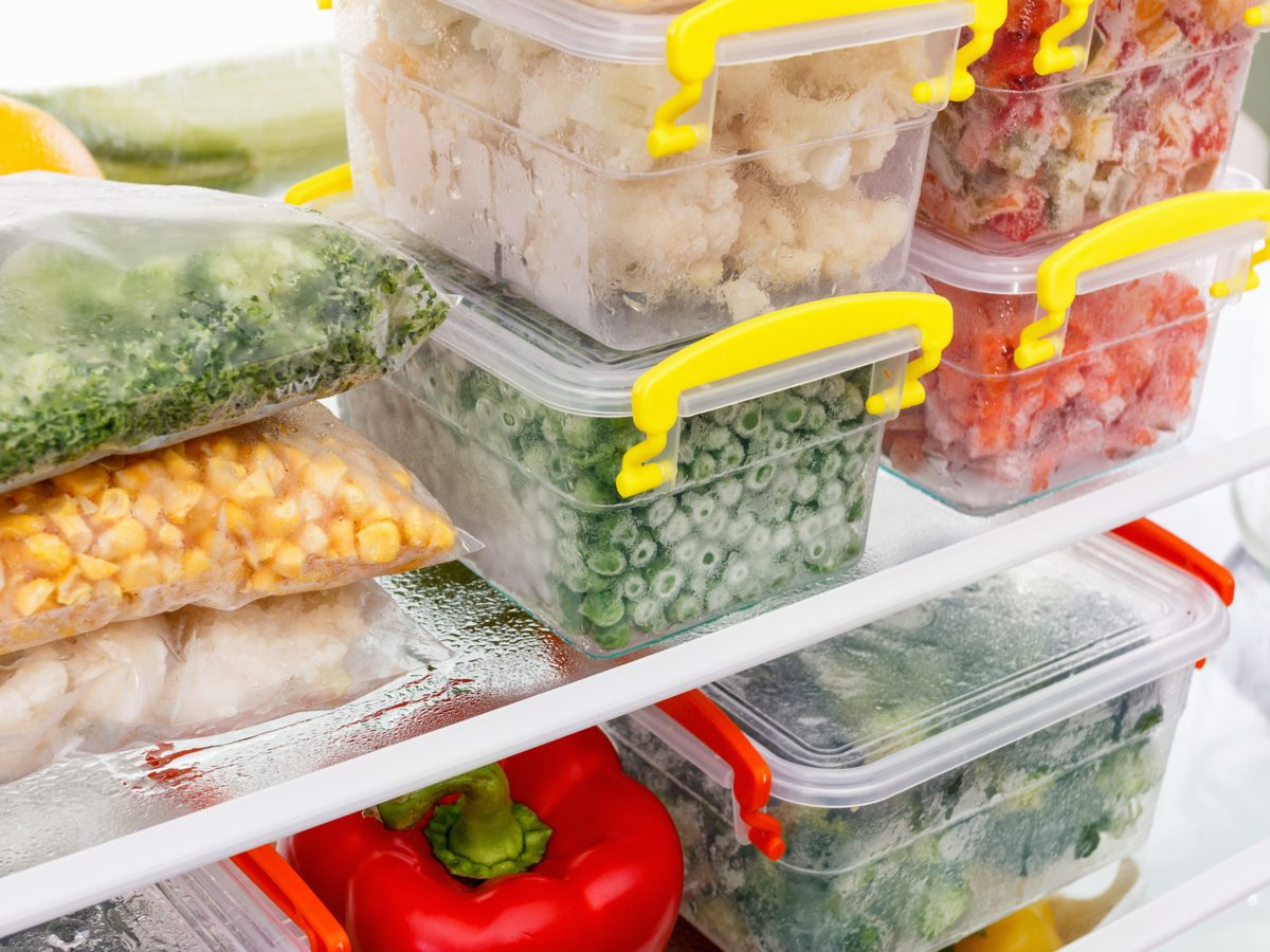 Food storage containers in refrigerator