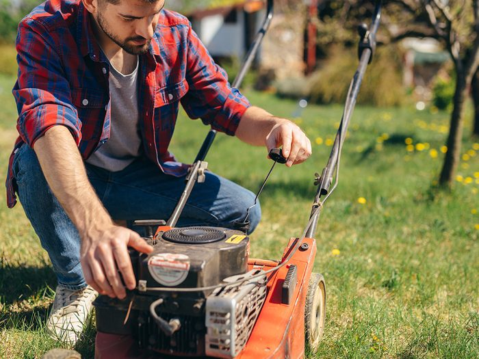 man using lawn mower outdoor. checking oil