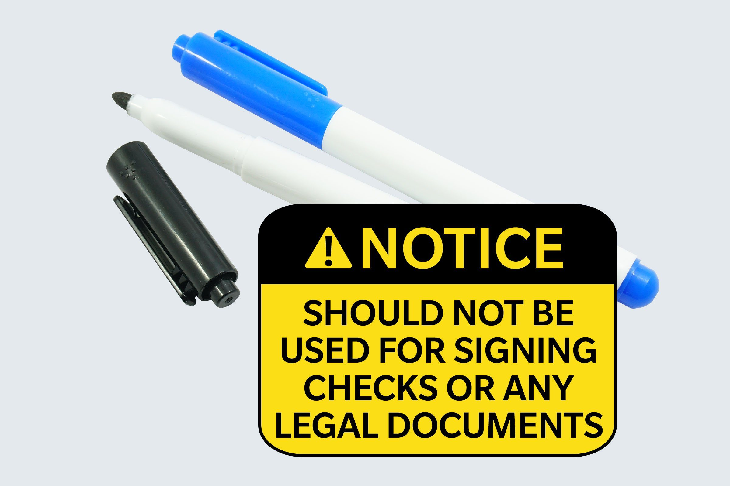 markers. notice: should not be used for signing checks or any legal documents