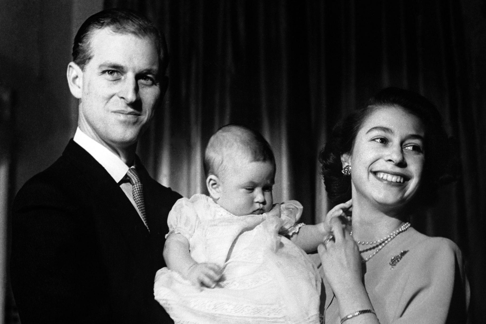 Princess Elizabeth and Duke of Edinburgh with Prince Charles - Buckingham Palace, London