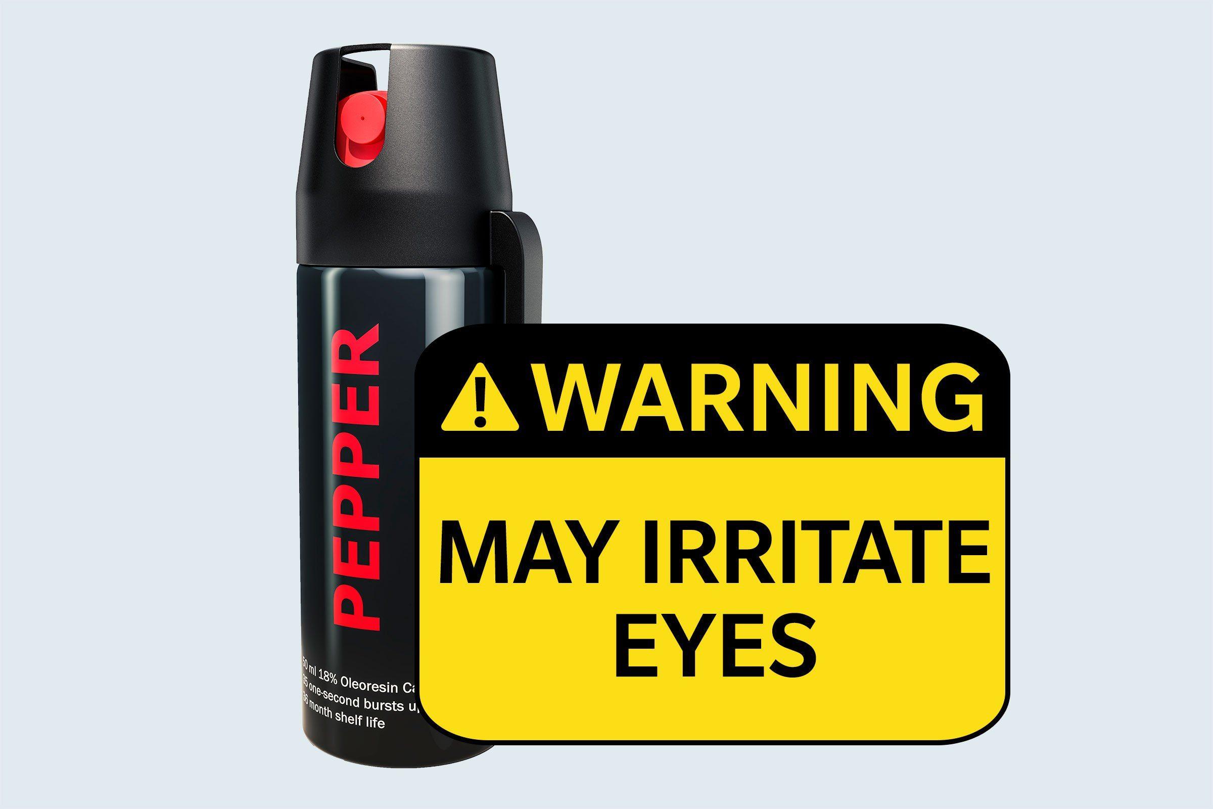 pepper spray. warning: may irritate eyes