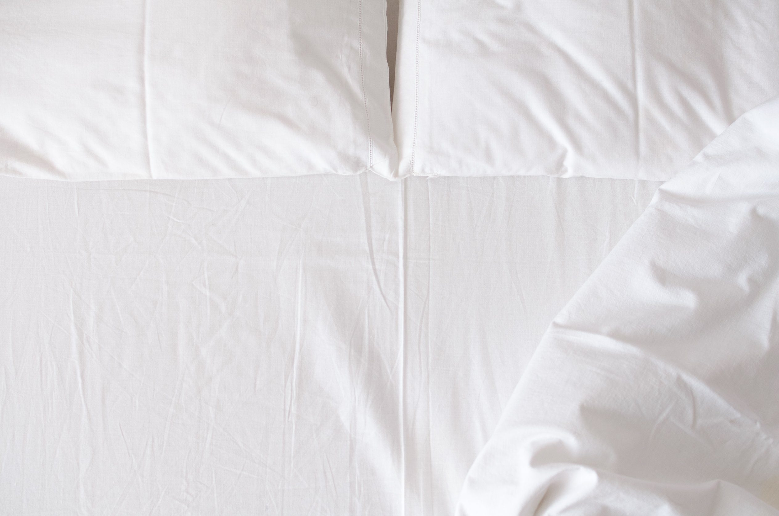 white bedding from overhead