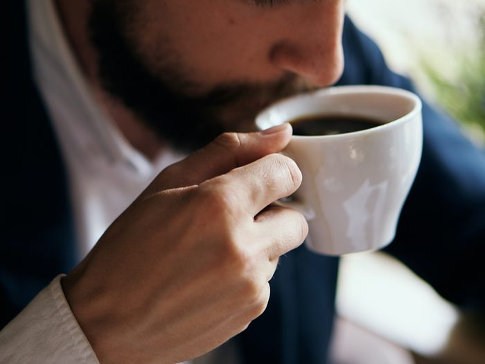 Best time to drink coffee - man drinking coffee