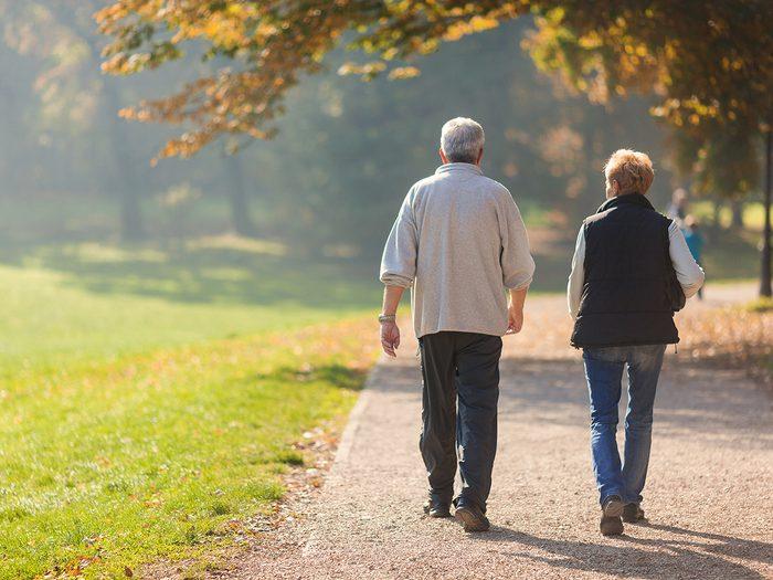 Bruising easily - senior couple walking