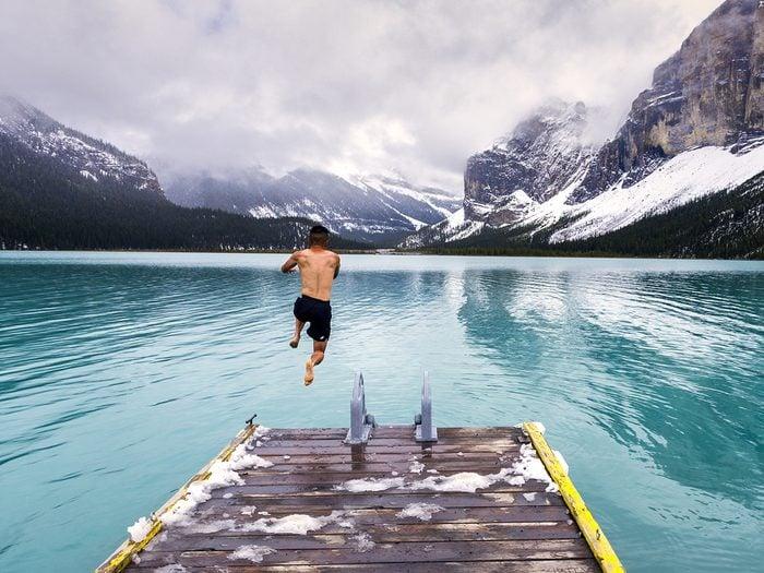 Fun facts about Canada - polar bear dip in Malign Lake Alberta