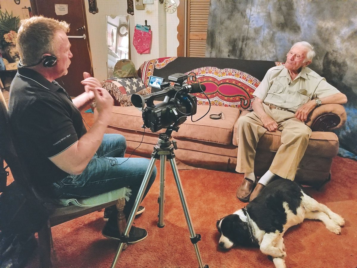 Peter Mason/SAS (Ret'd) and his dog, Tess, during a home interview