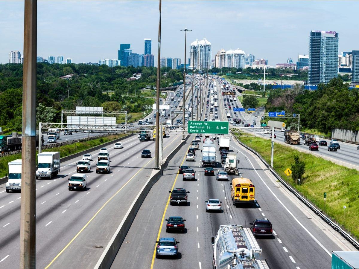 Overhead shot of King's Highway in Toronto