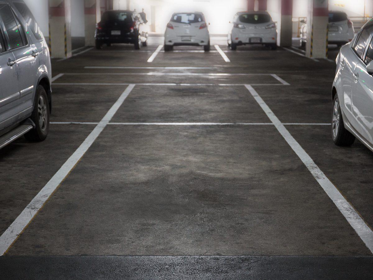 Empty parking spot in parking garage