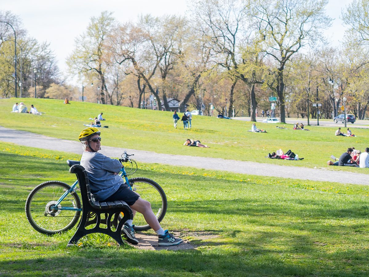 Urban parks during COVID-19 - Jeanne Mance Park in Montreal