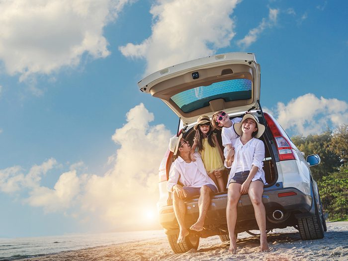 Uses for pillowcases - family on road trip