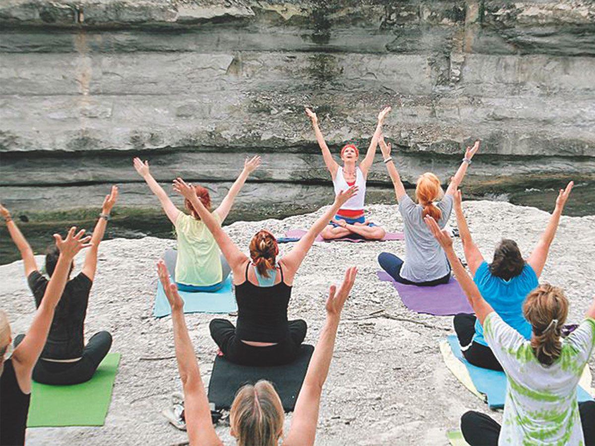 Wanda Lambeth's yoga class before the pandemic