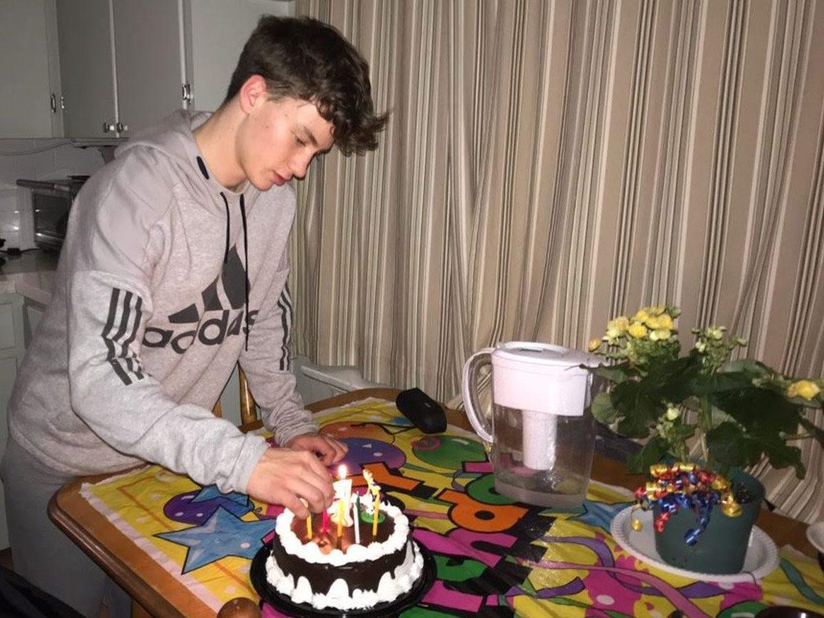 Teenage boy celebrating his birthday